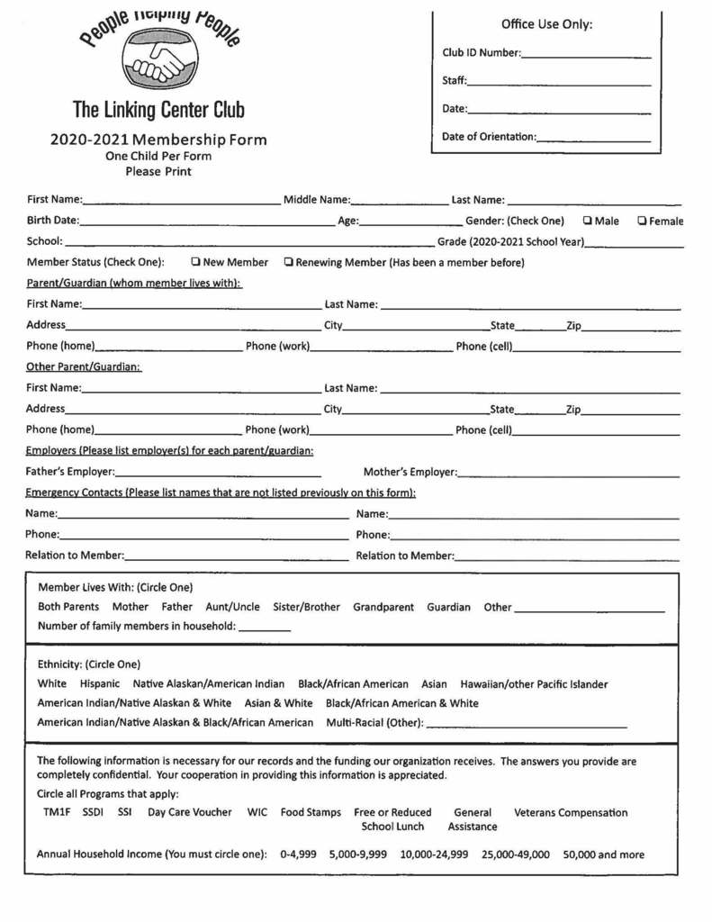The Linking Center Membership Form #1